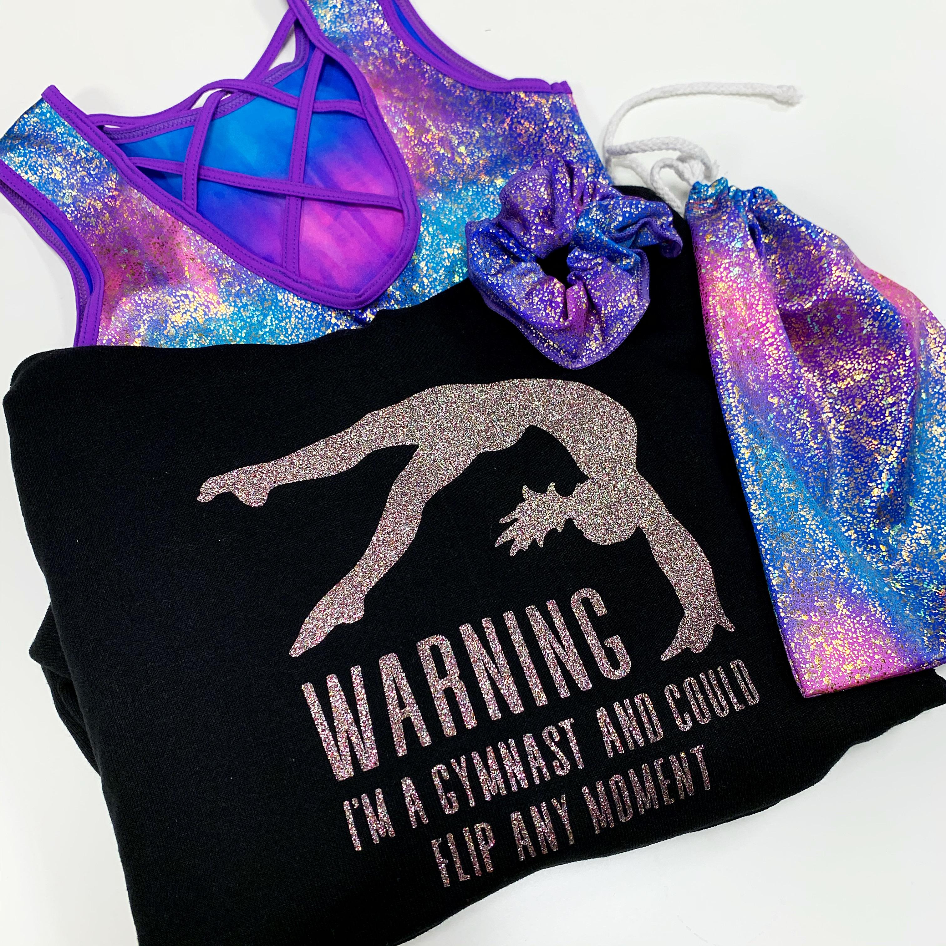 Turnpakje Morgan Paars blauw, tasje morgan, scrunchie, trui warning gymnast zwart confetti glitter Sparkle&Dream