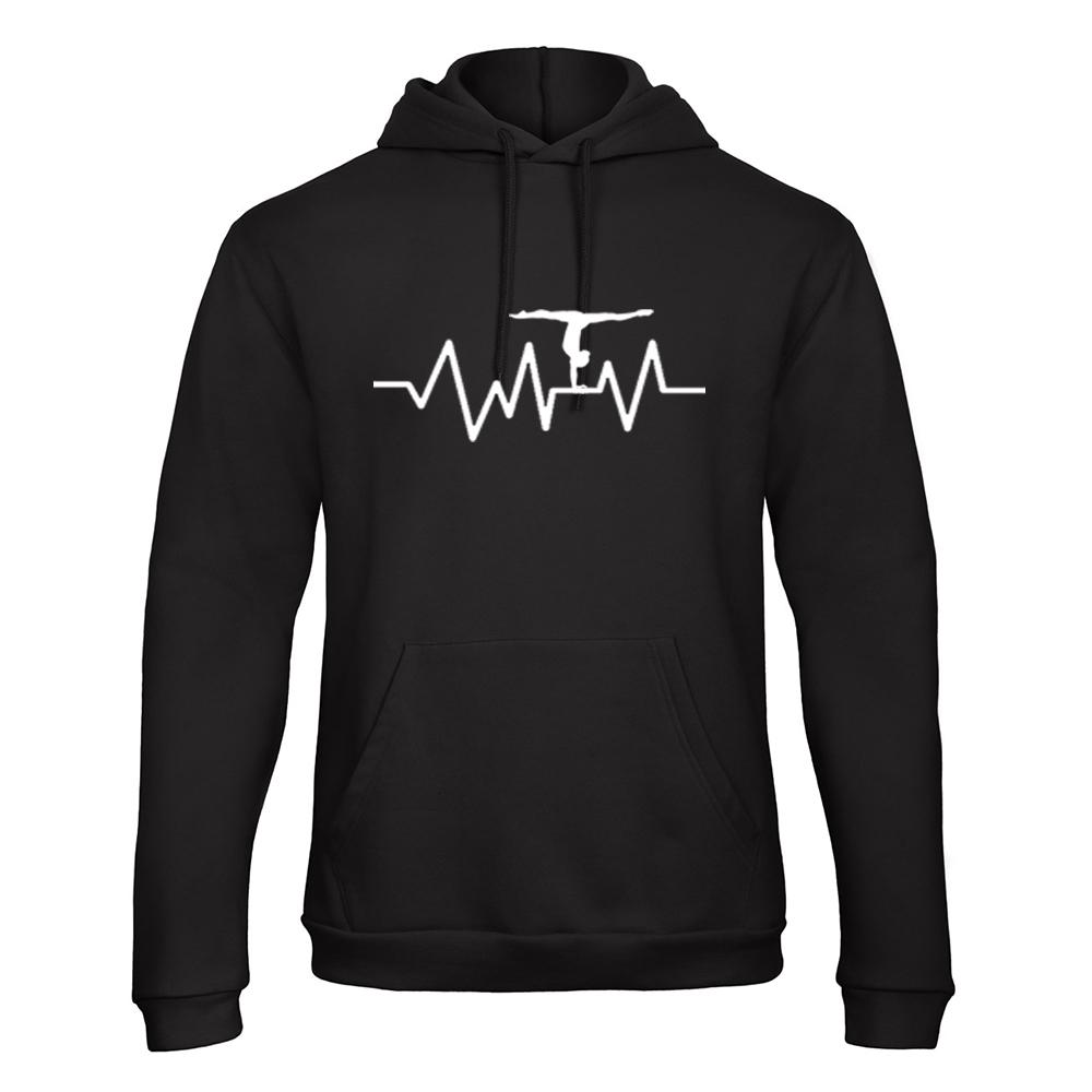 Heartbeat Hoodie Trui Turnshirt Zwart Sparkle & Dream